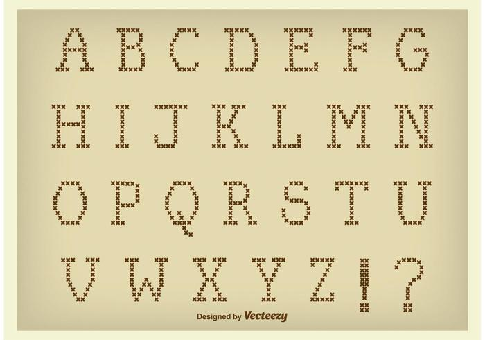 Vector Cross Stitch Style Alphabet