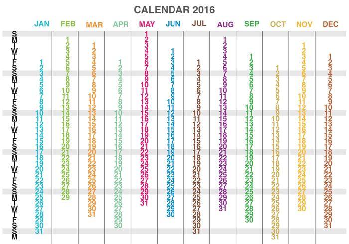 Kolumner Kalender 2016 Vector