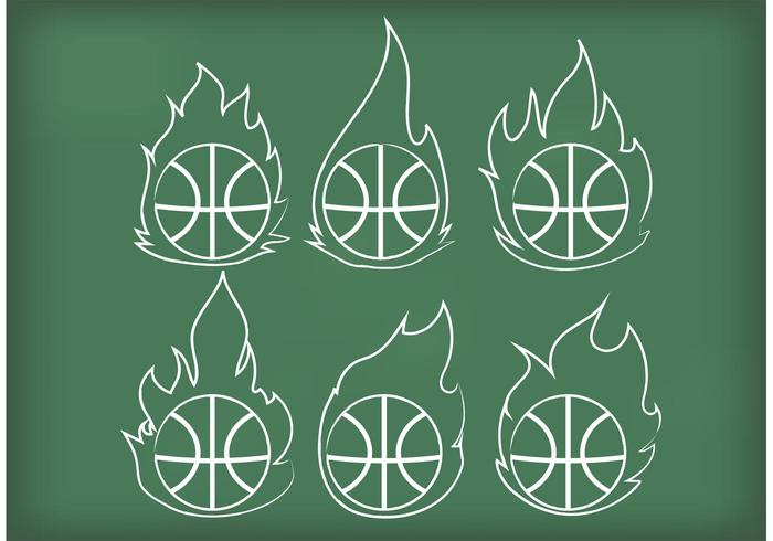 Outline Basketball on Fire Vectors