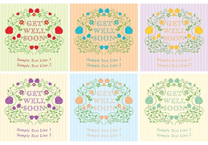 Get Well Soon Floral Card Vectors