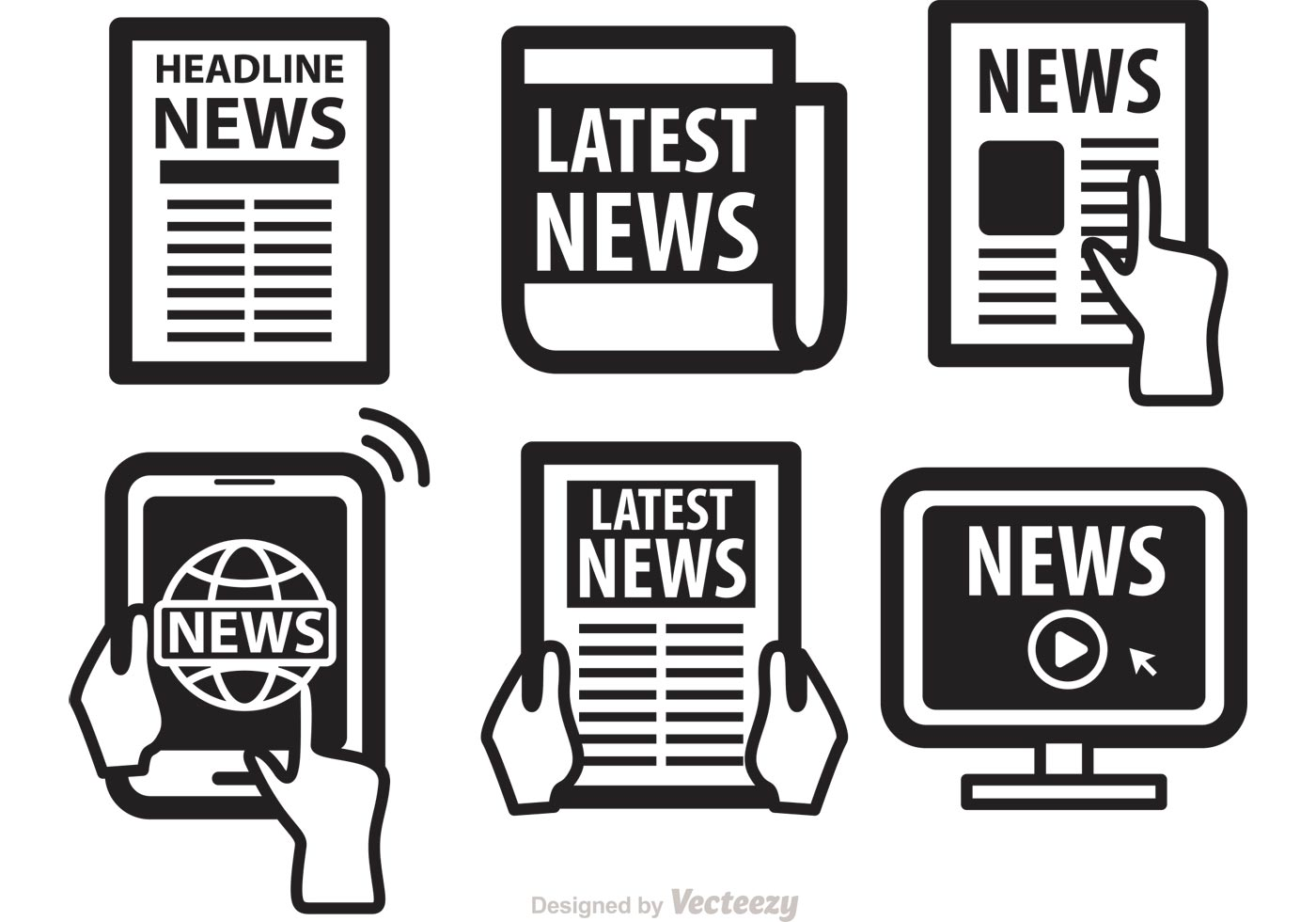 newspaper media icons vectors - download free vector art, stock
