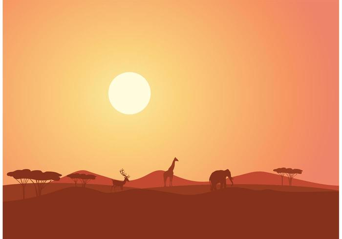 Free African Landscape At Sunset Vector