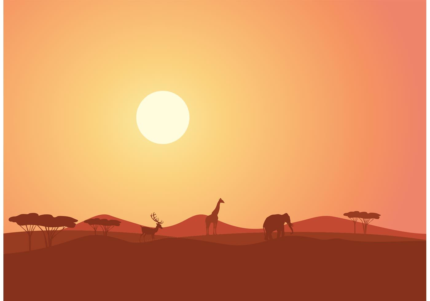 Free African Lanape At Sunset Vector Colorful Silhouettes Of Kids