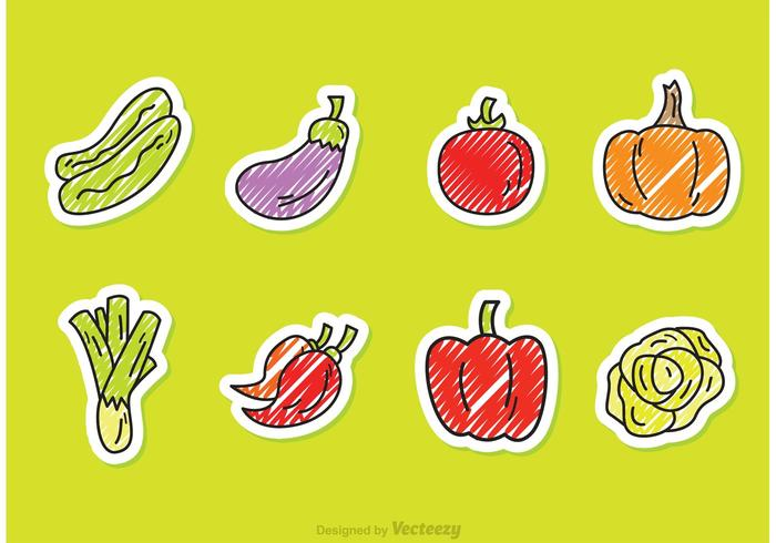 Scribble Vegetable Vector Style Icons