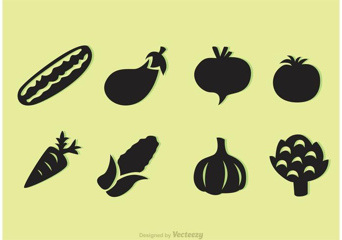 Black Vegetable Vector Icons