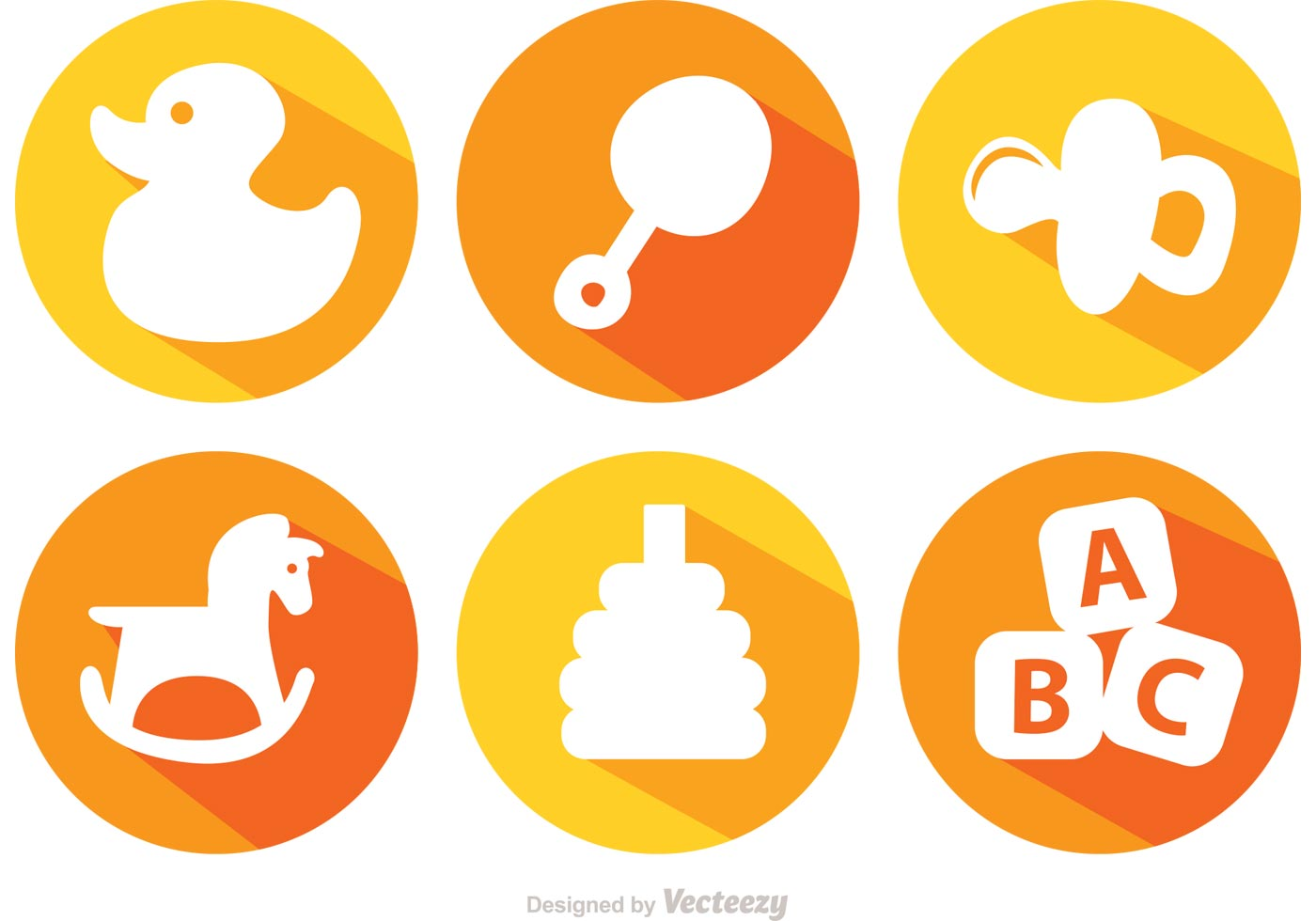 Long Shadow Baby Toys Vector Icons Download Free Vector