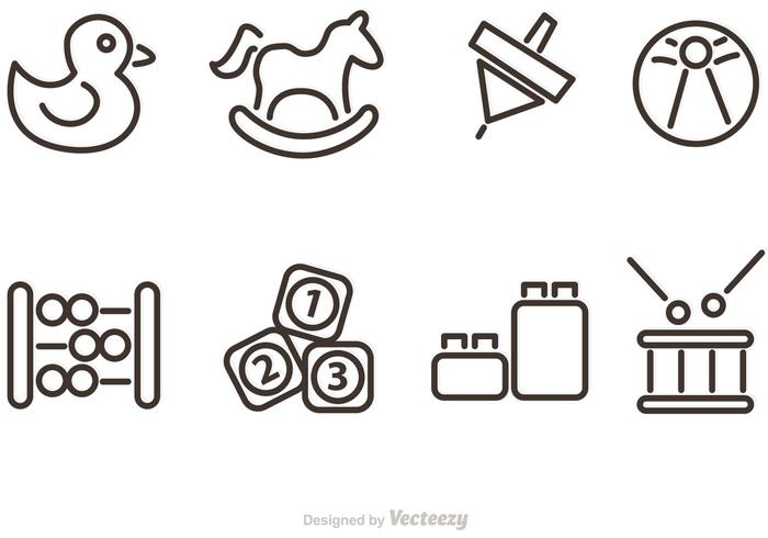 Outlined Baby Toy Vector Icons