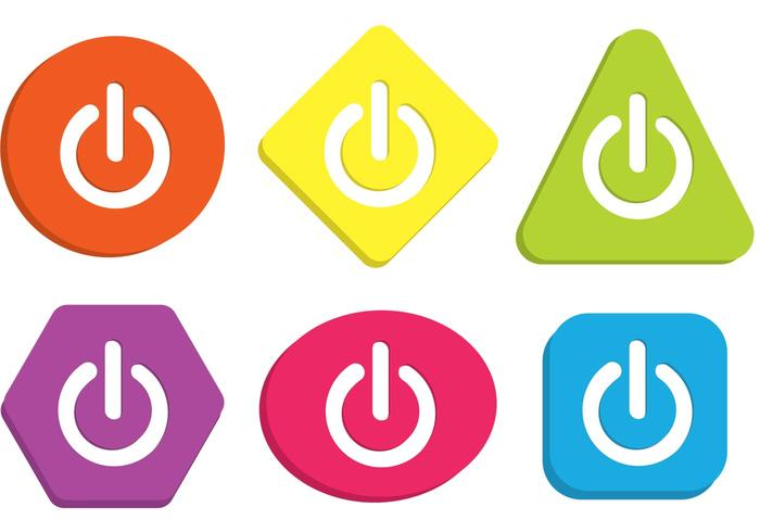 Colorful On Off Button Vectors