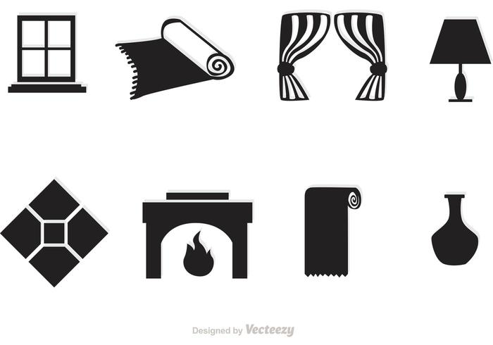 Black Home Interior Vector Icons
