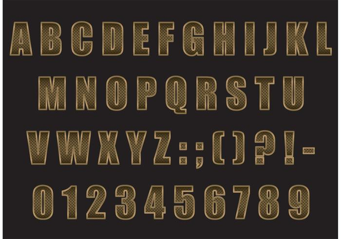 Golden Metal Factory Inspired Vector Schriftart