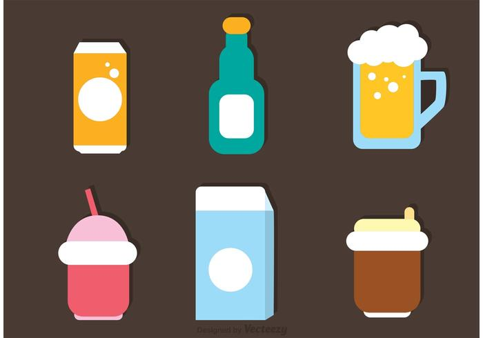 Flat Drinks Icons Vector