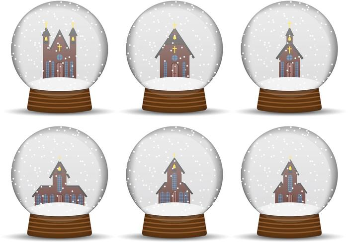 Church Snow Globe Vectors
