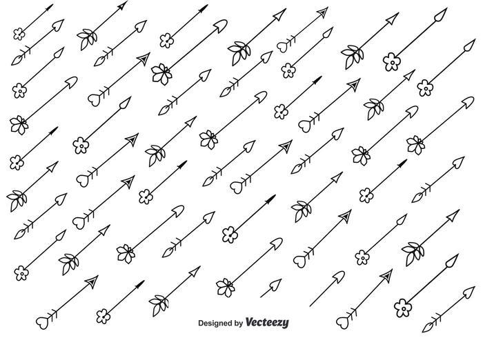 Love and Floral Sketch Arrow Vectors
