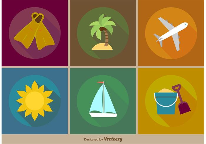 Vector Beach Vacations Flat Icons