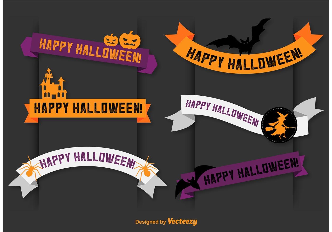 happy halloween vector banner ribbons - download free vector art