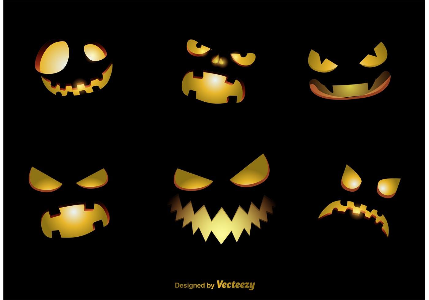 scary jack o lantern face template - spooky jack o lantern vector faces download free vector