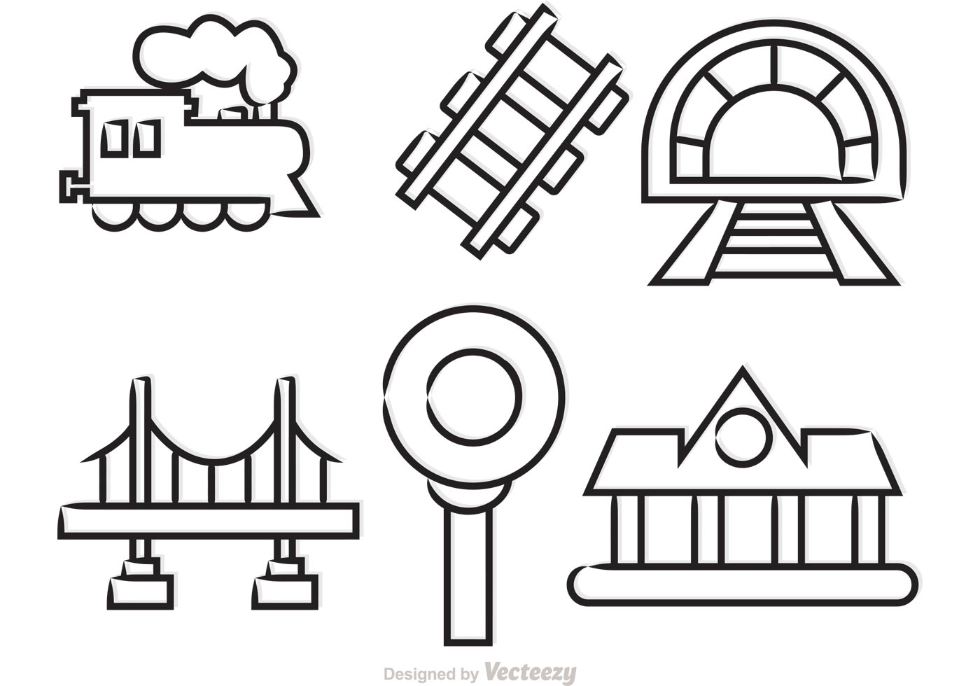 outlined train vector icons