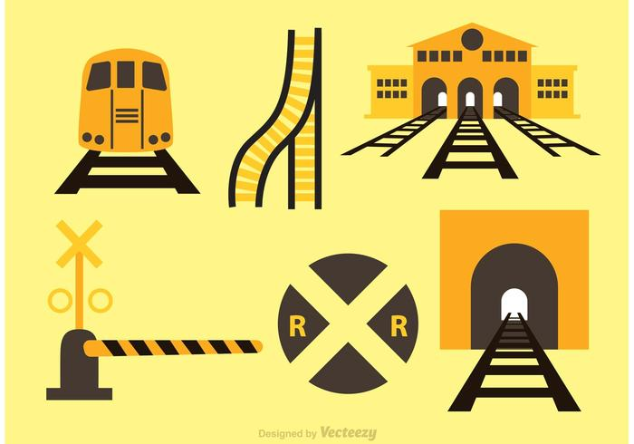 Vector Train And Station Icons