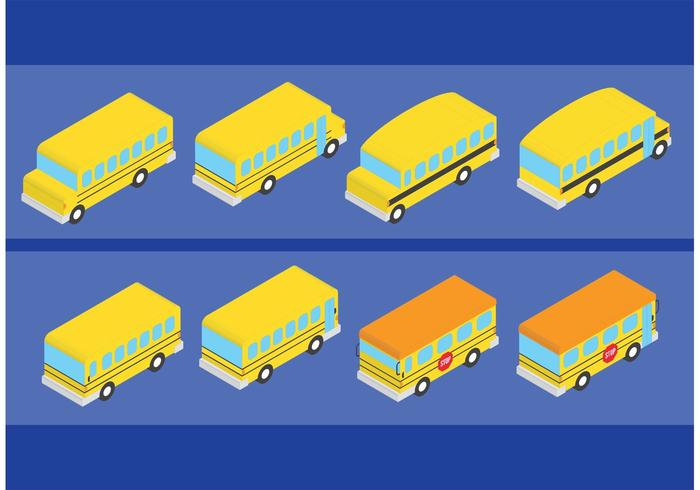 Isometric Style School Bus Vectors