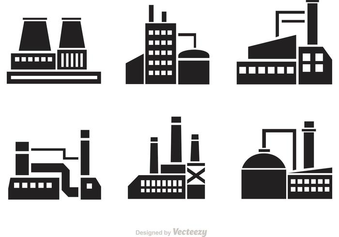 Vector Factory Silhouette Icons