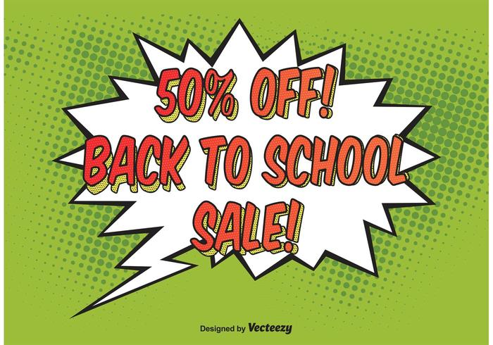 Comic Style School Sale Background Vector