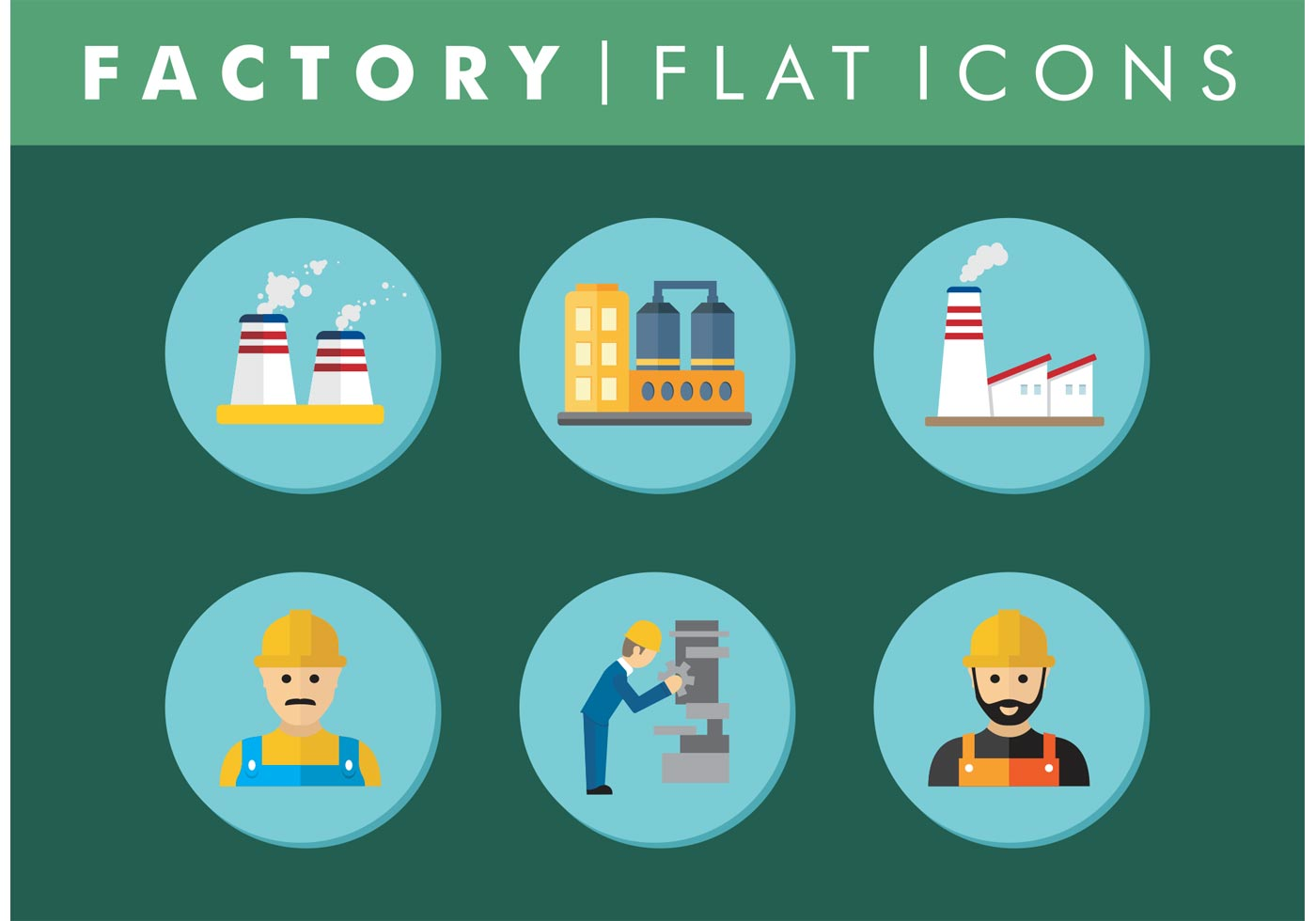 flat factory icons set vector free download free vector