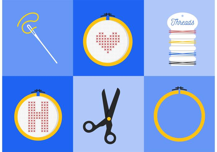 Cross Stitch Vector Icons