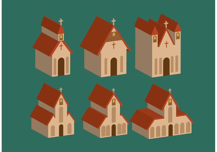 Isometric Country Church Vectors