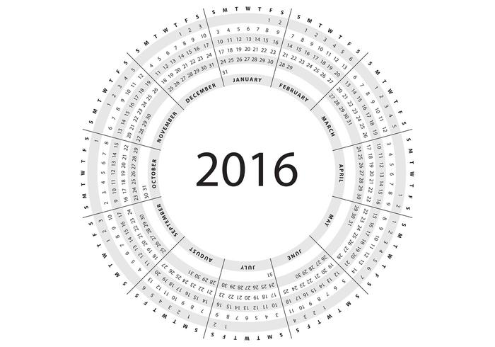 Gray Circular Calendar 2016 Vector - Download Free Vector Art ...