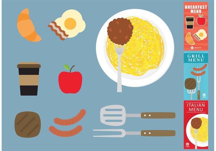 Vecteurs alimentaires avec menus