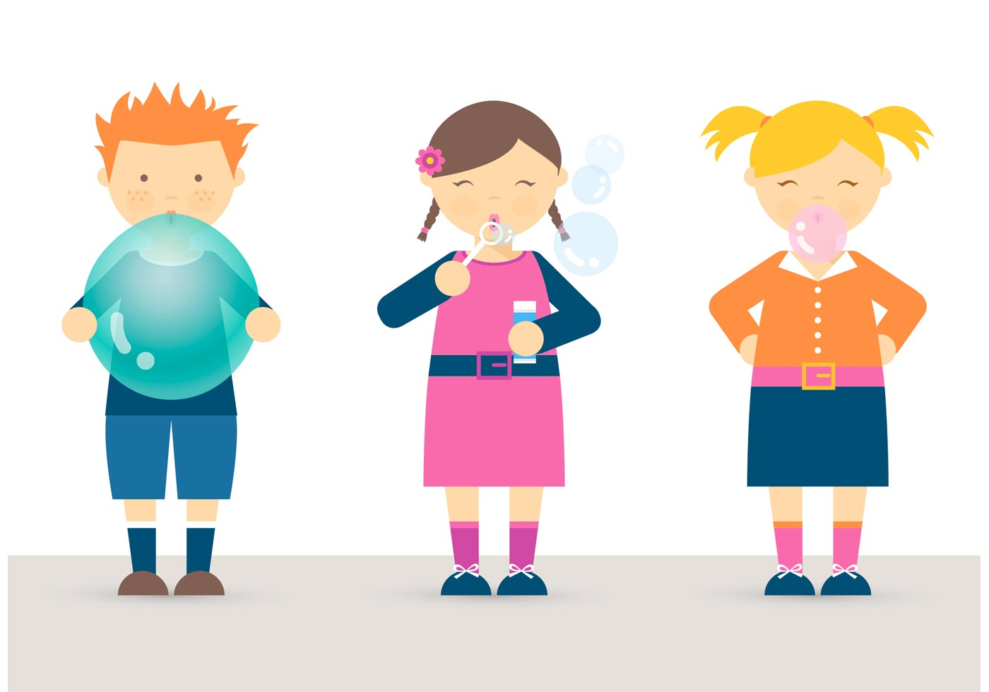 free kids blowing balloon bubbles and bubblegum vector download
