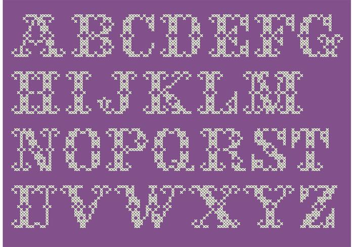 Cross Stitch Alphabet Vector Set