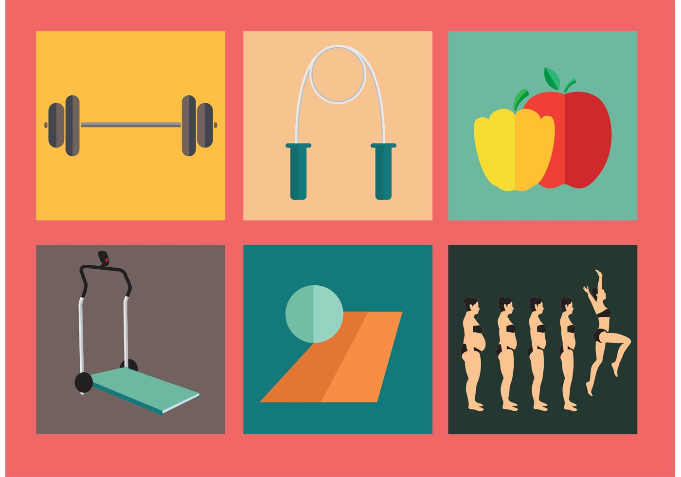 Diet and Exercise Vectors - Download Free Vector Art ...