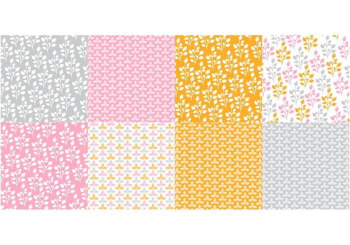 Oranje Flora Patroon Vector Set