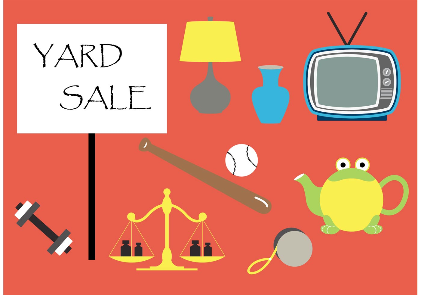 Yard Sale Vector Elements Download Free Vector Art