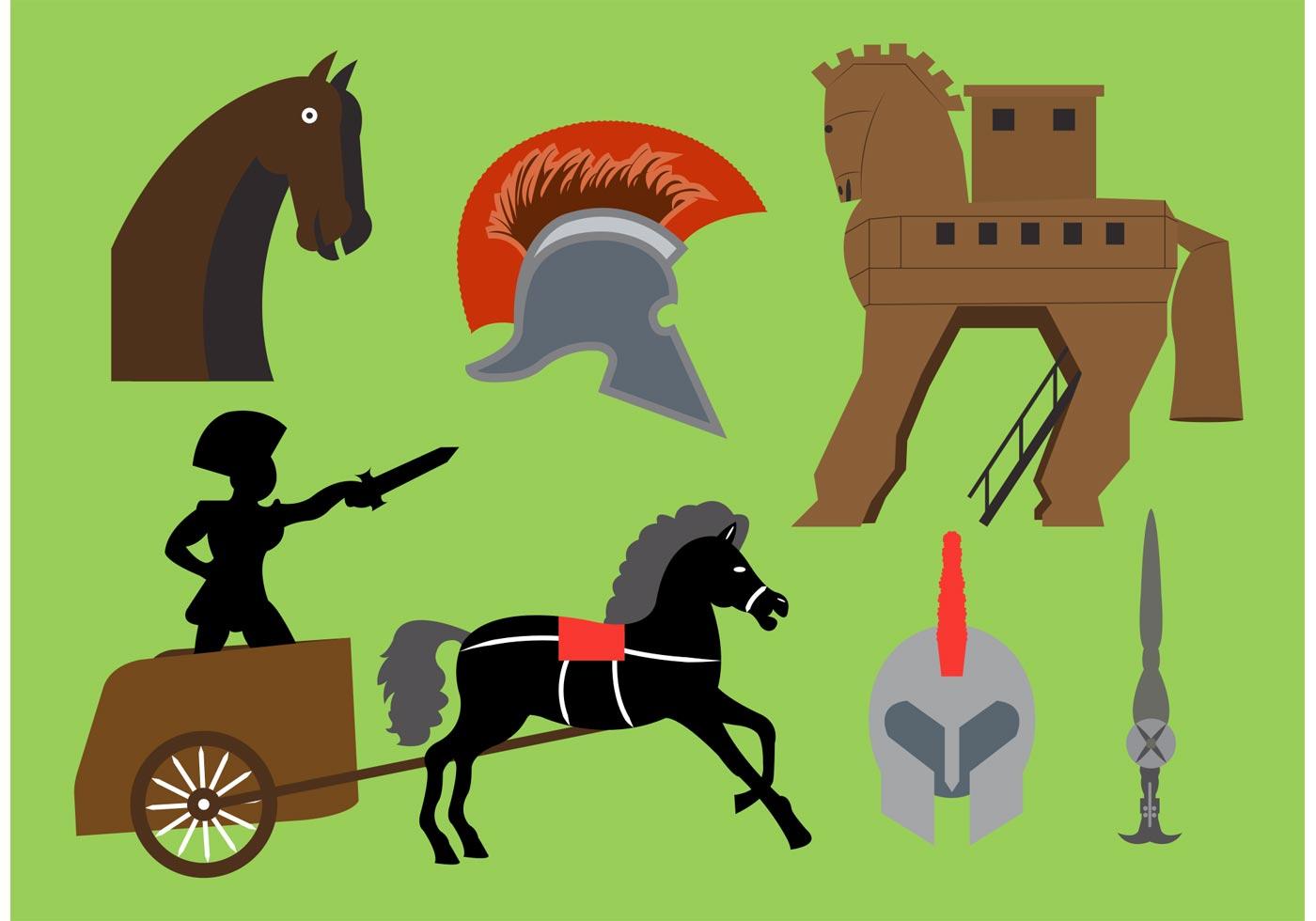 Ancient Greek Mythology Background Trojan Horse Vector El...