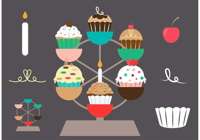 Cupcake Stand Vector Set