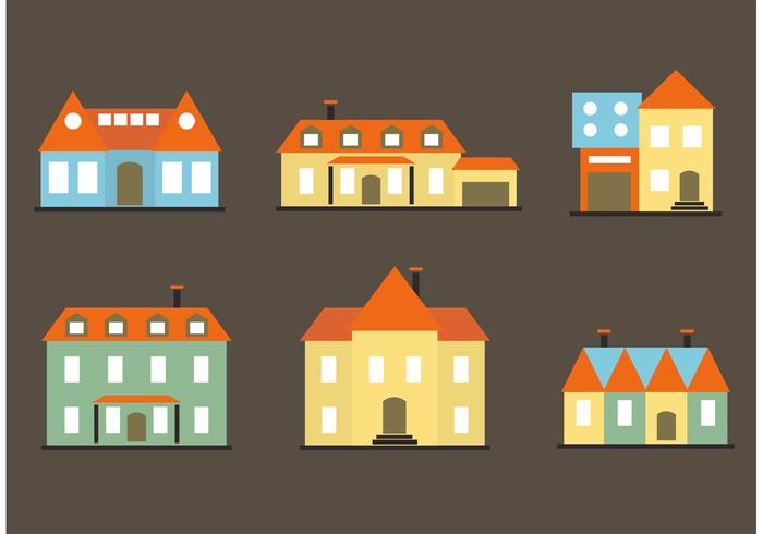 Colorful Flat Mansion Vectors