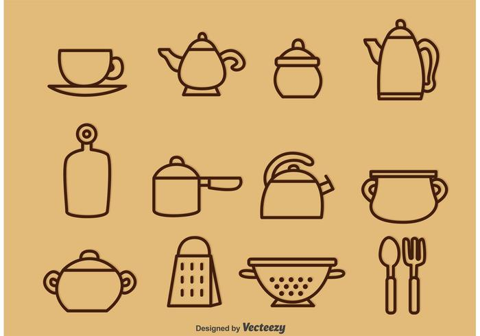 Outlined Vintage Kitchen Utensil Vector Icons
