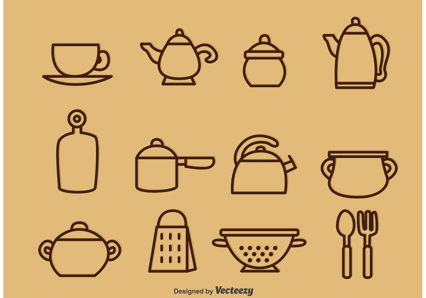 Outlined Vintage Kitchen Utensil Vector Icons   Download Free Vector Art,  Stock Graphics U0026 Images