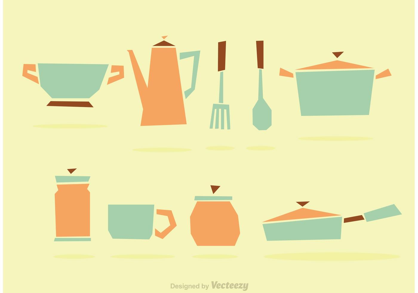 Geometric kitchen vector set download free vector art for Kitchen set vector