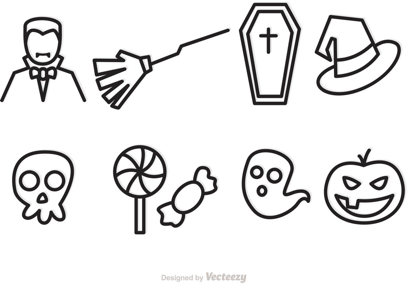 halloween outline vector icons - download free vector art, stock