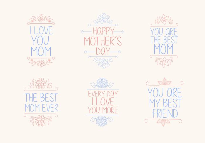 Hand-Drawn Mother's Day Vector Graphics