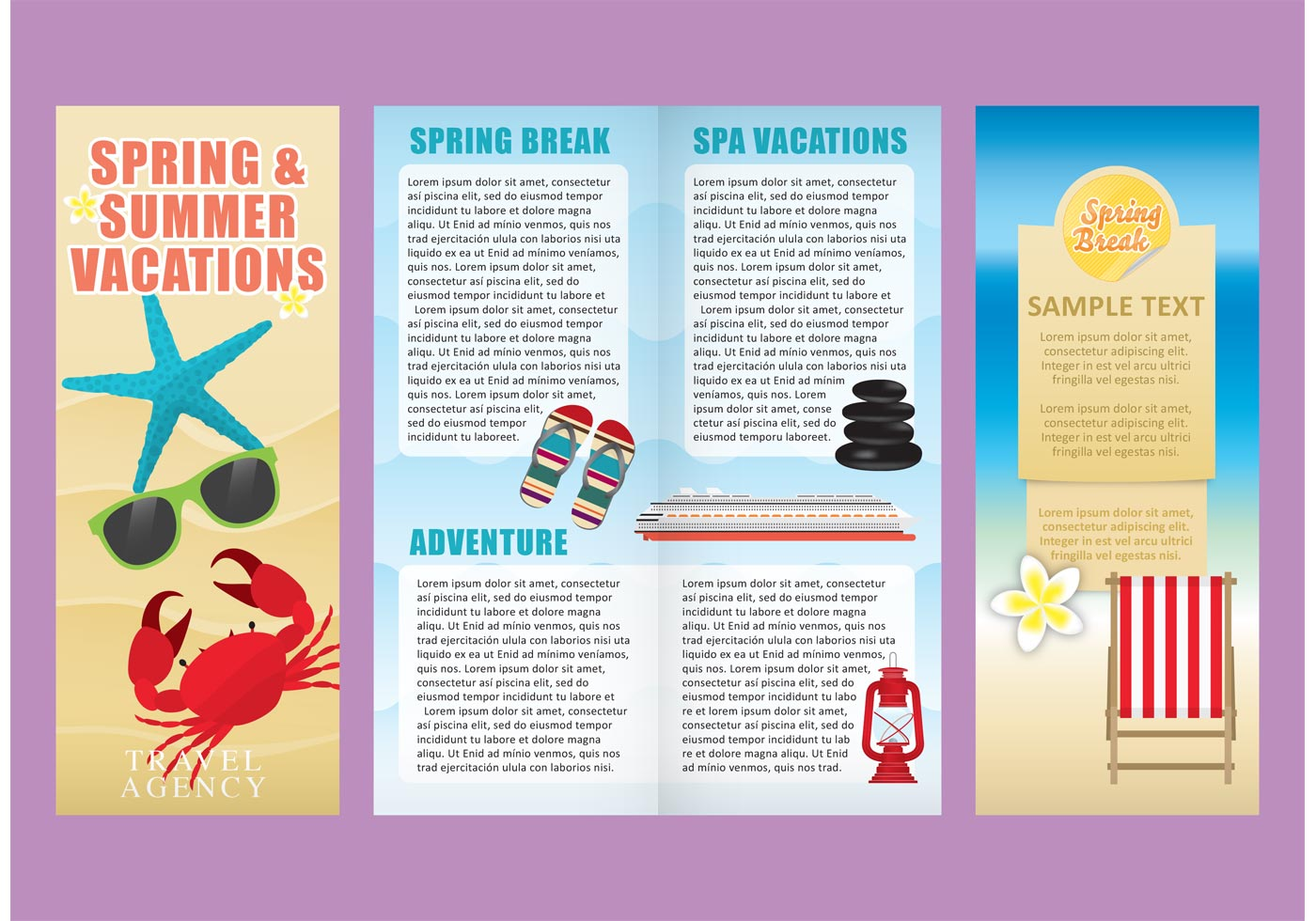 Vacations brochure template vectors download free vector for Vacation brochure templates