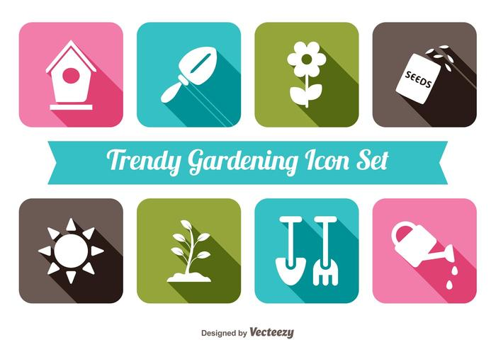 Trendy tuinieren icon set