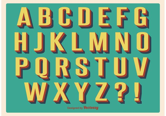 Vintage Retro Alphabet Set