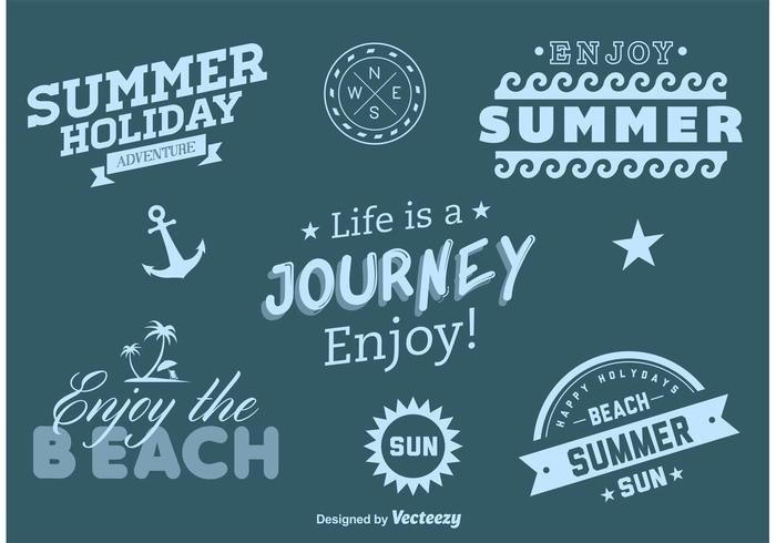 Etiquettes vectorielles d'aventures de plage et de plage