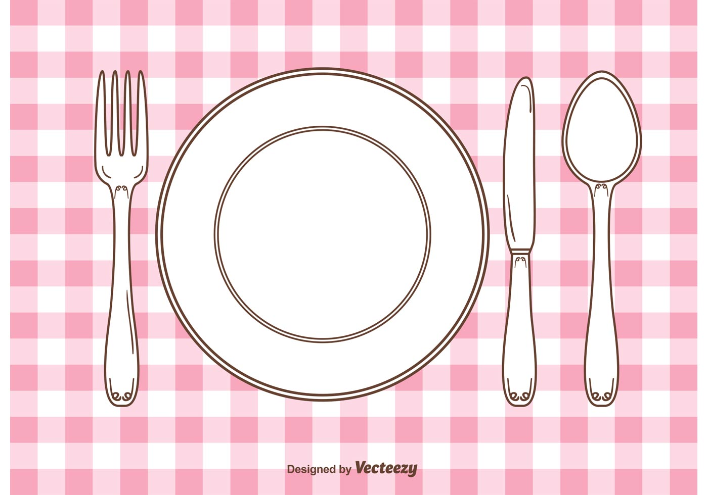 Vector gingham dinner table setting download free vector Dinner table setting pictures