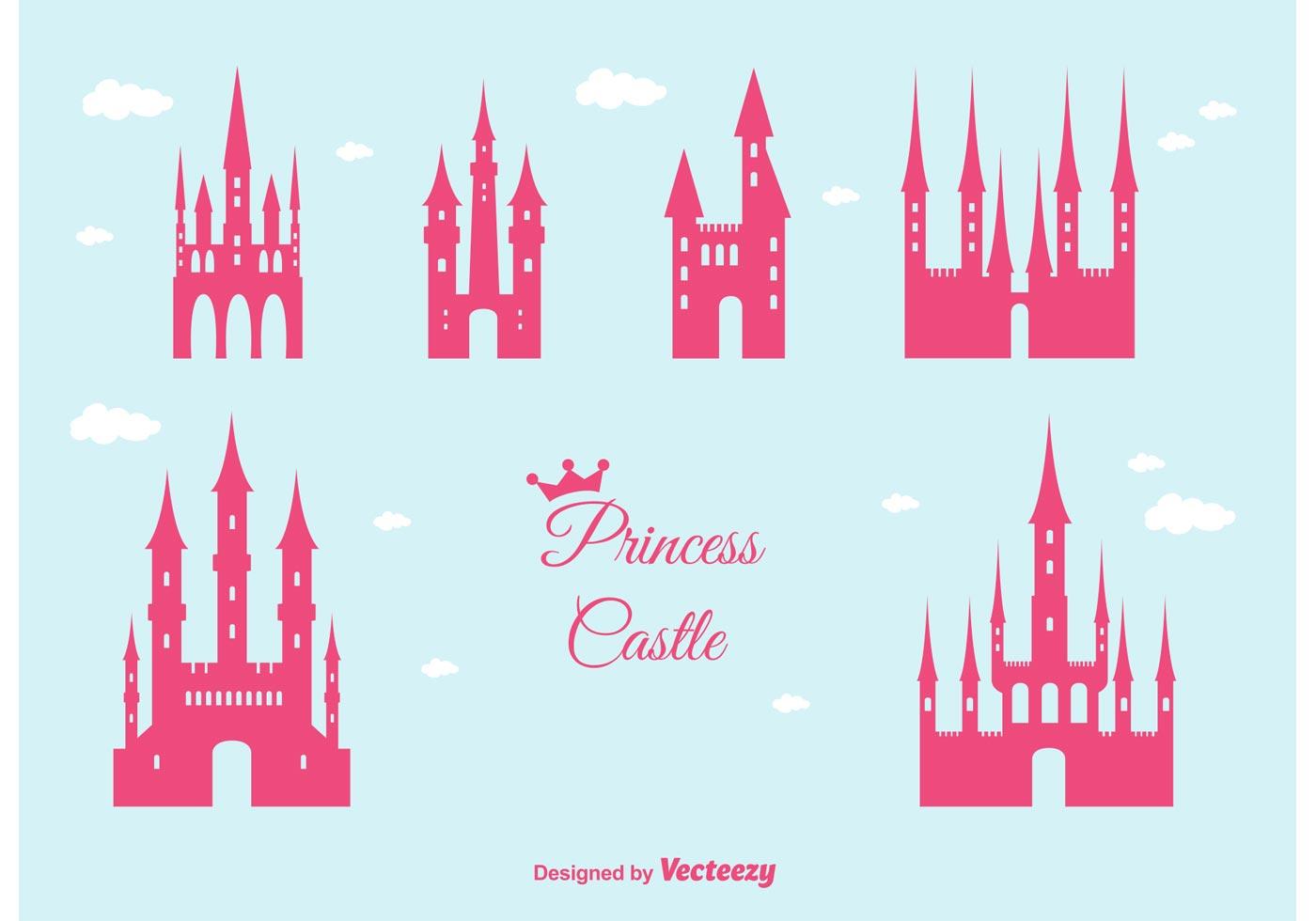 princess castle vector set download free vector art Vector Silhouette Face People Silhouette Vector