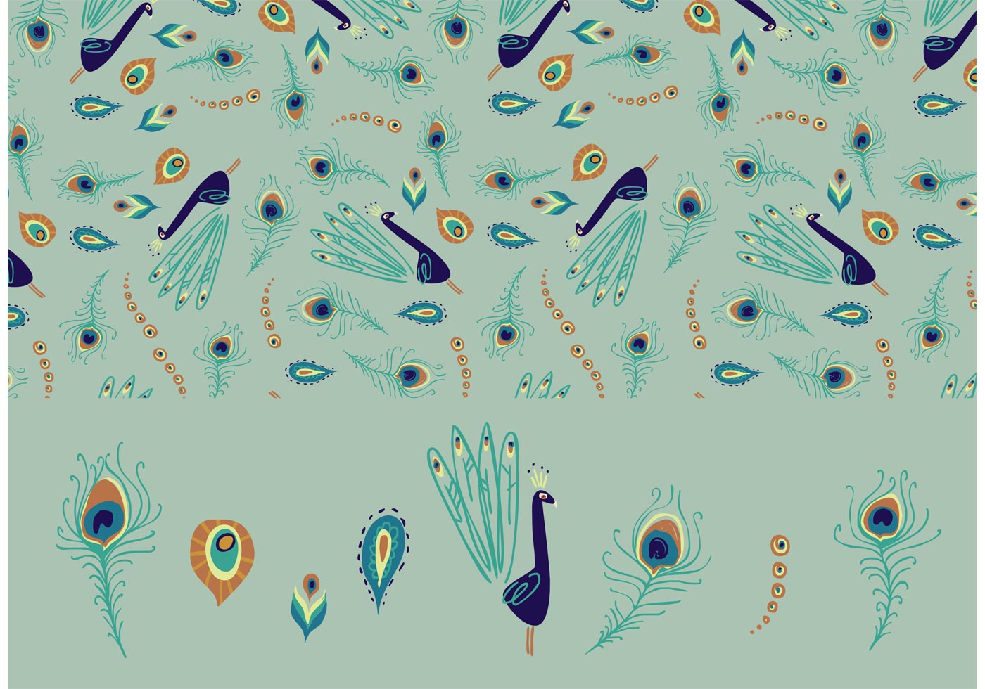 peacock feather repeat pattern vector